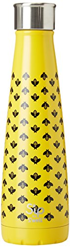 S'well 200115730 15 oz S'ip Insulated, Double-Walled Stainless Steel Water Bottle, Honey Bee 15oz