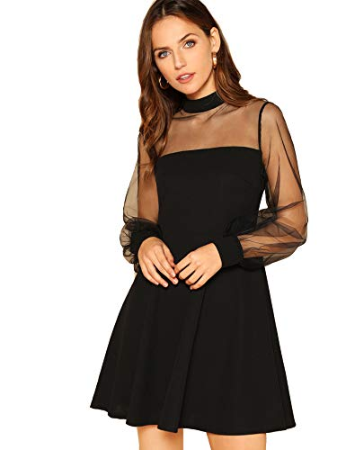 ROMWE Women's High Waist Tulle Puff Sleeve Swing Hem Cocktial Midi Dress Black (Puff Sleeve Womens Dress)