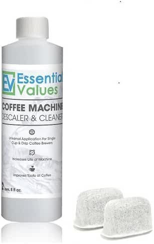 Keurig Descaler & BONUS 2 PACK Replacement Keurig Filters (Brewer Care Kit), Universal Descaling Solution, Decalcifier & Coffee Maker Cleaner by Essential Values