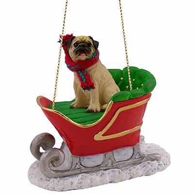 in Sleigh Christmas Ornament New (Pug Dog Christmas Tree Ornament)