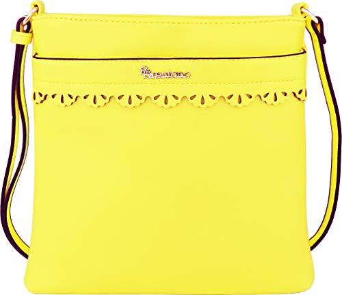 B BRENTANO Vegan Medium Crossbody Handbag Purse (Lime Light)