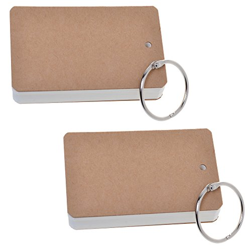 COSMOS Pack of 2 Binder Ring Easy Flip White Note Cards Study Cards