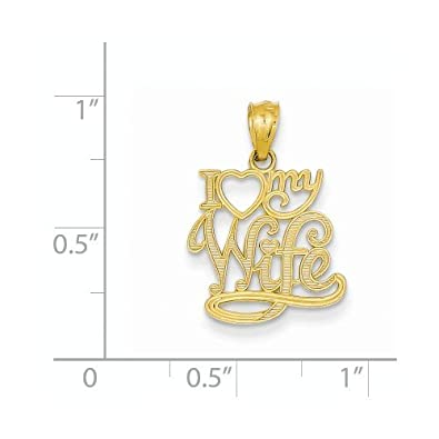 K/&C 14k Yellow Gold I Love My Wife Pendant on a 14K Yellow Gold Carded Rope Chain Necklace