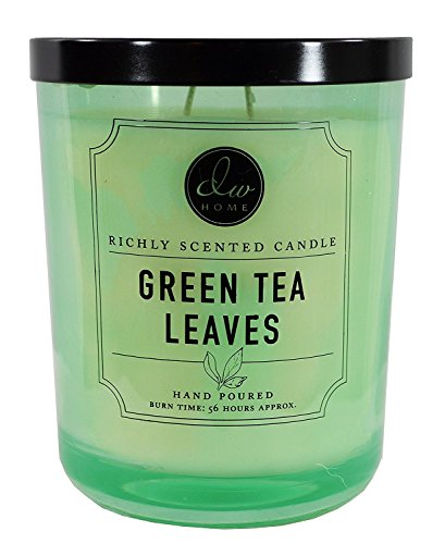 Green Tea Scented Candle - DW Home Green Tea Leaves 15.48 oz. Candle in glass jar