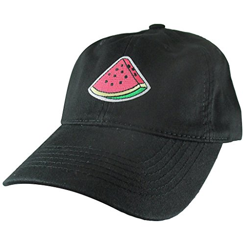 (AffinityAddOns Watermelon Slice Dad Hat, Black Baseball Cap, Embroidered Patch)