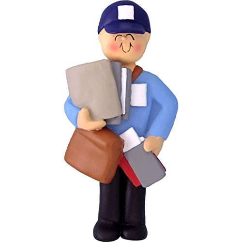 (Personalized Letter Carrier Christmas Tree Ornament 2019 - Postman Carry Mail Bag Blue Uniform Holiday Postal Service Parcel Office Coworker Profession New Job Online Shopper - Free Customization)