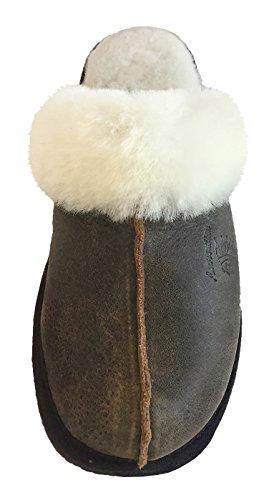 Slip Da Donna In Pelle Di Pecora Laurentian Foderato Con Pantofole Di Mocassino In Pelle Marrone Antico