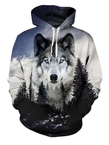 Wolf 3D Hoodie für Herren Damen Funky Wald Wolf HD Gedruckt Pullover Mit Kapuze Leichte Sweatshirt für Casual Holiday Grau L