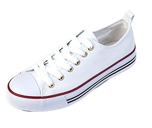 Women's Casual Canvas Shoes Solid Colors Low Top Lace up Flat Fashion Sneakers (8, White) Canvas Lace Up Shoes