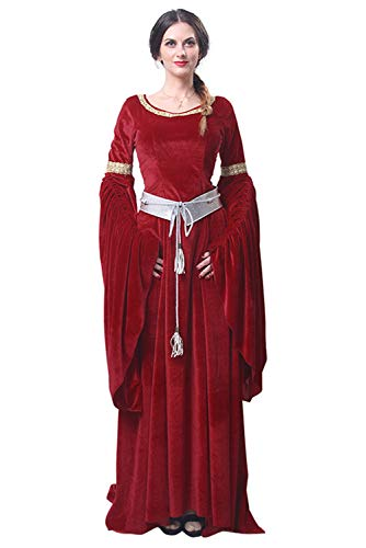 Dark Paradise Womens Medieval Renaissance Dress Costume Halloween Cosplay Trumpet Sleeve Robe Gown ()