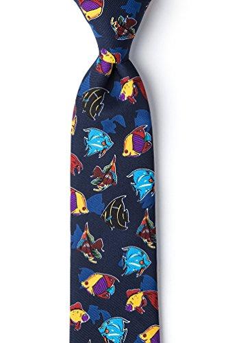 Navy Blue Microfiber Boys Tie | Colorful Fish Boys Necktie ()