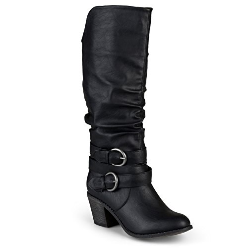 Journee Collection Women's Buckle Slouch High Heel Boots Black, 7.5 Regular US