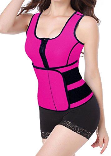 DODOING Women Sport Sauna Suit Tank Top Waist Trimmer Shirt Vest Tummy Fat Burner with Adjustable Waist Trainer Belt Body Shapers Slimming Vest for Weight Loss