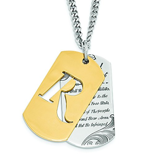 Remington Stainless Steel Gold IP 2nd Amendment Dog Tag Necklace
