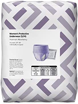 Amazon Brand - Solimo Incontinence Underwear for Women, Maximum Absorbency, Small/Medium, 60 Count (3 packs of 20)