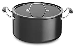 KitchenAid KCH160LCKD Hard Anodized Nonstick 6.0-Quart Low Casserole with Lid Cookware - Black Diamond