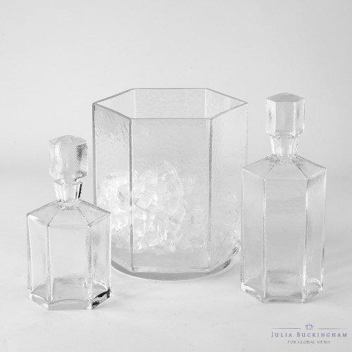 Clear Glass Hexagon Decanter Bottle Set | Bar Minimalist Geometric Liquor Retro