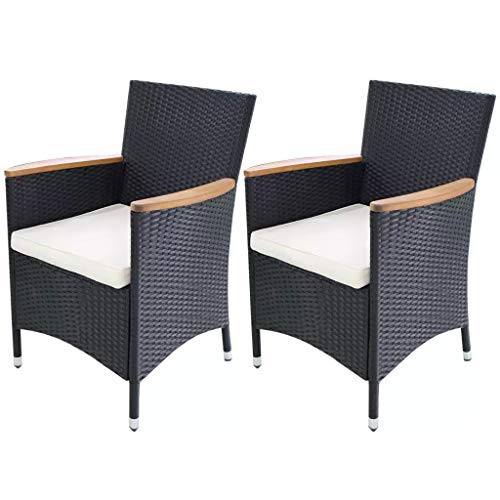 Canditree 2pcs Outdoor Dining Chair Rattan, Armchair with Cushions for Patio Garden Backyard Black 23.2″x23.6″x34.6″