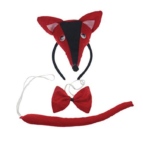 Red Fox 3pc Children Costume Kids Cosplay Headband Bowtie Tail]()