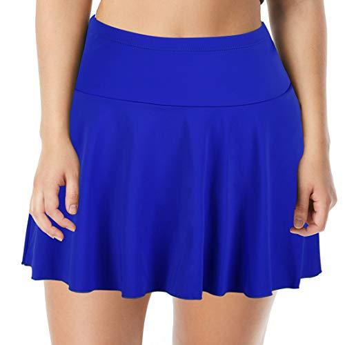 Septangle Women's Mid Waist Swim Skirt Tummy Control Swimwear Bikini Bottom (Royal Blue, US 8) (Royal Bikini)