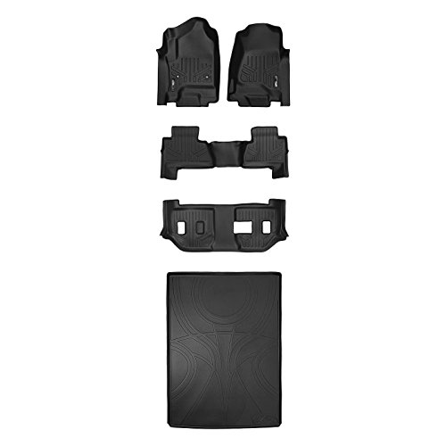 Denali 2nd Row Bench Seats - SMARTLINER Floor Mats 3 Rows and Cargo Liner Behind 2nd Row Set Black for 2015-2018 Suburban / Yukon XL (with 2nd Row Bench Seat)