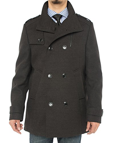 Luciano Natazzi Men's Stylish Top Coat Classic Double Breasted Pea Coat (44 US - 54 EU, Charcoal Gray) by Luciano Natazzi (Image #1)