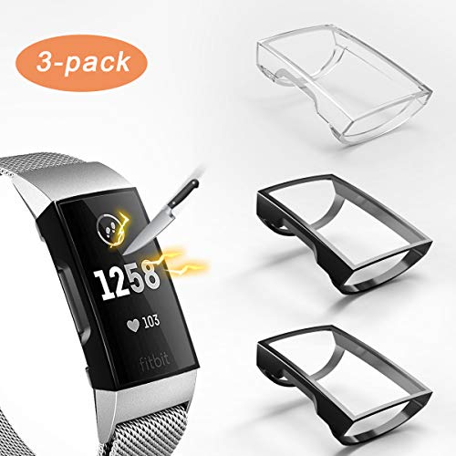 3 Pack Compatible with Fitbit Charge 3 Screen Protector,Valband Ultra Slim Soft Full Cover Case [Scratch-Proof] Bumper for Fitbit Charge 3 and Fitbit Charge 3 SE (Clear,Black,Black) ()
