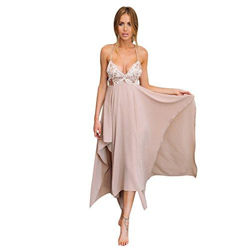 y en y mujer lentejuelas lentejuelas V lentejuelas con bordado largo escote para con pink Vestido naked wq8BvWagfx