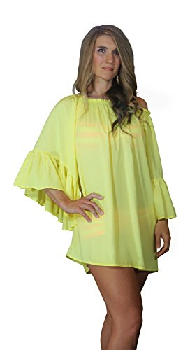Womens Off Shoulder Boho Swimsuit Cover-Up/Top/Mini Dress (One Size (S-L), Yellow)