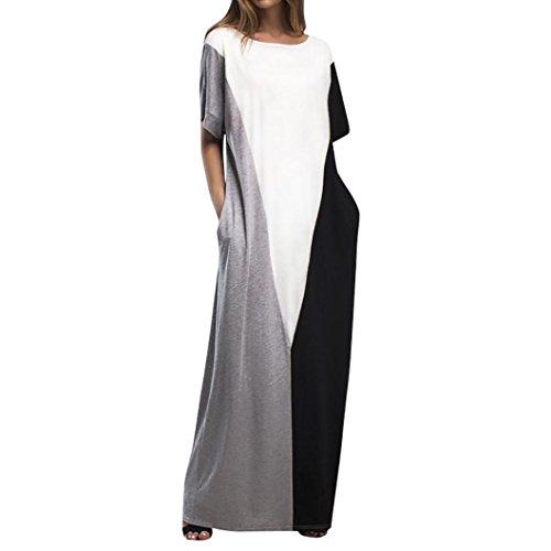 DongDong Big Promotion! Women Dress Pocket Patchwork Long Loose Short Sleeve Evening Party Dress