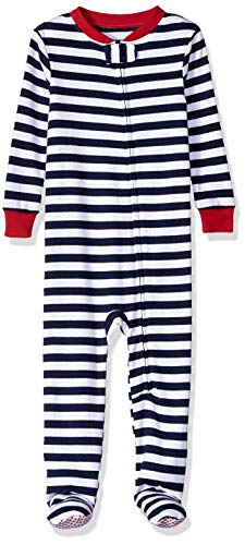 Amazon Essentials Toddler and Baby  Zip-Front Footed Sleeper, Navy Stripe, 12-18M