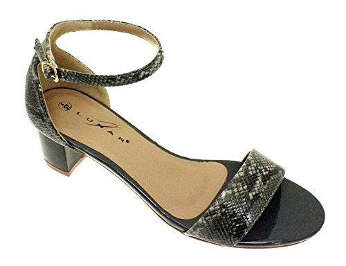 SAPPHIRE BOUTIQUE JLH845 Jilly Womens Snake Patent Block Heeled Buckle Ankle Strap Sandals Grey T1VWu9