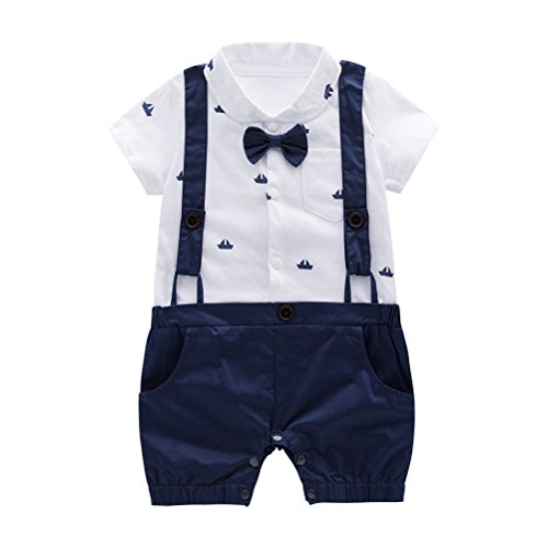 Nyan Cat May's Baby Boys Bowtie Faux Suspenders Romper Onesie