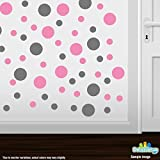 Set of 30 - Pink / Grey Circles Polka Dots Vinyl Wall Graphic Decals Stickers by Decal Venue