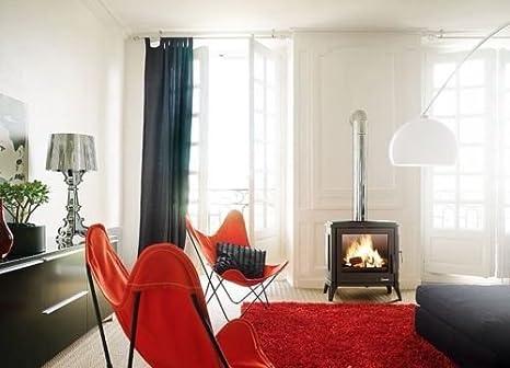 Invicta Sedan - Estufa de leña de hierro fundido de 10 kW con gran ventana rectangular diseñada para un estilo de vida moderno, color marfil con acabado ...