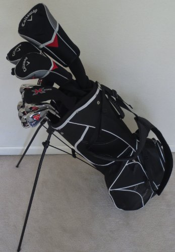 NEW Complete Callaway Mens Golf Set Driver, Fairway Woods, Hybrid, Irons, Putter, Stand Bag Deluxe Model Stiff Flex Shafts