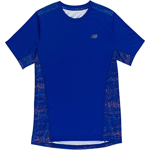New Balance Little Boys' Short Sleeve Performance Tee, Royal/Stripe, 5 Royal Blue Five Stripe