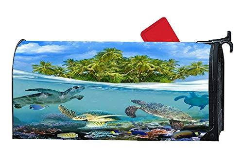 Island Aqua Sea Turtle Mailbox Cover Magnetic and Vinyl, Animals Seasonal Theme MailWrap Mailbox Makeover Cover,6.5x19 Inches -