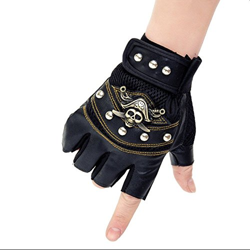 New Pirate Breathable Sports Bicycle Fitness Gloves Mens/Womens Non-slip Wear-resistant Gloves Outdoor Tactical Workout Mtb Mountain Bike Glove Punk Hip-hop half-Finger Skull Gloves (Black) - Pirates Mens Leather
