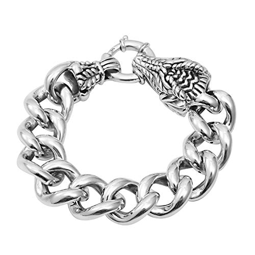 (Curb Dragon Head Bracelet 925 Sterling Silver Jewelry for Women Size 8.25