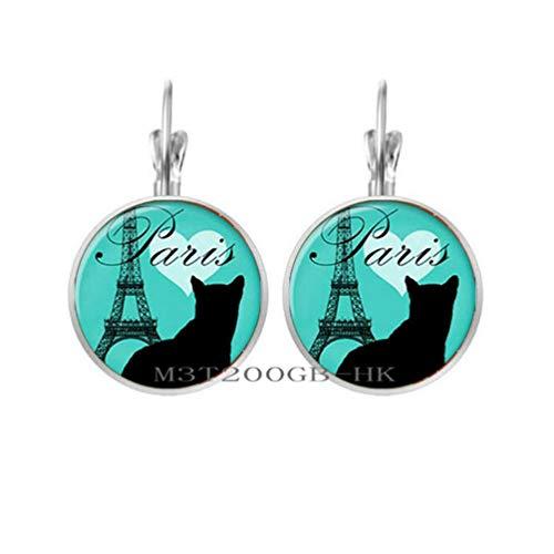Botewo0lbei New Love and Paris Dangle Earrings Tower Earrings Jewelry Glass Cabochon Earrings-MT199 (W3)