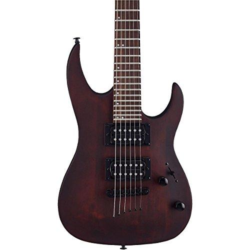 (Mitchell MM100 Mini Double Cutaway Electric Guitar Walnut)