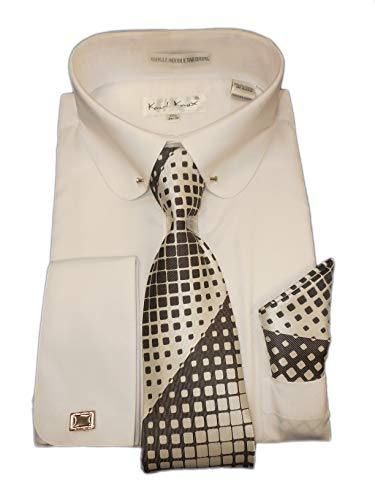 Karl Knox SX4404 Mens White Round Club Eyelet Collar French Cuff Woven-Look Dress Shirt + Tie Set (XL 17.5 Collar 34/35 Sleeve)
