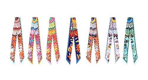 4-PCS Twilly Scarf Fashion Ribbon Band Handbag Handle Wrap for Women Tote by FLORAVOGUE (08)