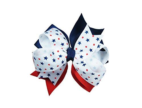 ColorBeBe - Patriotic Grosgrain Hair Bow Clip, Barrette (JC-010A) -