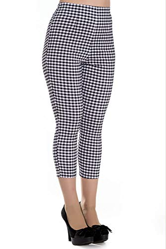 Hell Bunny Women's Judy Gingham Plaid High Waist 1950's Inspired Cropped Capri Pants (Small, Black/White)