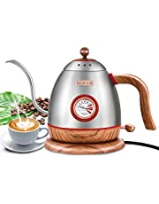 Electric Gooseneck Pour Over Coffee Drip Kettle with Thermometer, Stainless Steel Hot Water Boiler Teapot kettle, Fast Boil & BPA Free, Birthday Gift