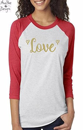 34257a52 Image Unavailable. Image not available for. Color: Happy Valentine's Day Love  Raglan Baseball Style T Shirt