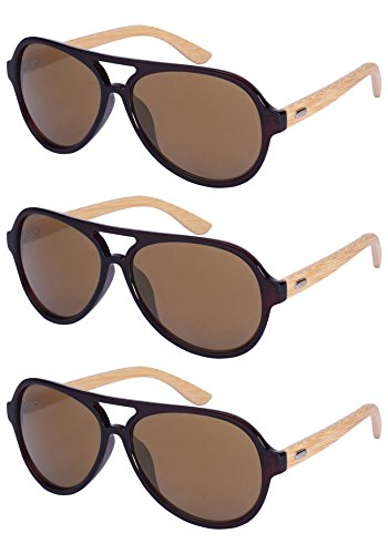 Edge I-Wear 3 Pack Retro Aviators Style Bamboo Wood Sunglasses Mirrored Lens Single Color - Ray Bn