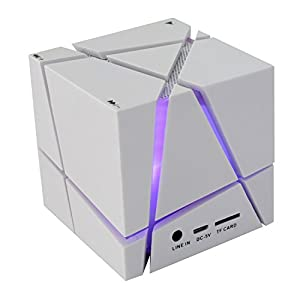 COOSA Cube Design Colorful LED Mini Portable Enceinte Bluetooth Musique Bluetooth 4.0 sans fil avec haut-parleur stéréo Microphone main-libre Compatible avec l'iPhone. iPad.Samsung.Tablets PC – Portable et l'autre telephone Android (Blanc)